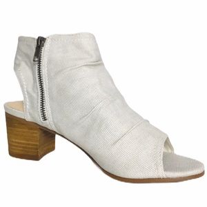 NWB Not Rated White Canvas Open-Toe Ankle Booties